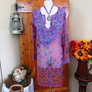 RAJ Embroidered Long Purple Cotton Boho Tunic NWT